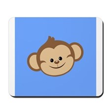 Cute Monkey on Blue Mousepad