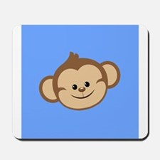 Cute Monkey on Blue Mousepad