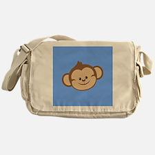 Cute Monkey on Blue Messenger Bag