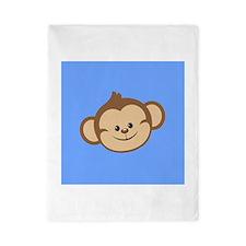 Cute Monkey on Blue Twin Duvet