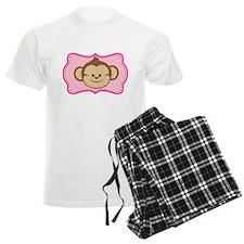 Cute Monkey on Pink Flourish Pajamas