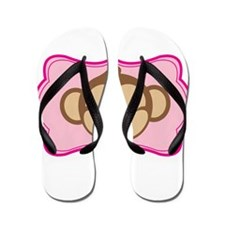 Cute Monkey on Pink Flourish Flip Flops