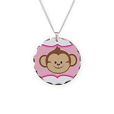 Cute Monkey on Pink Flourish Necklace