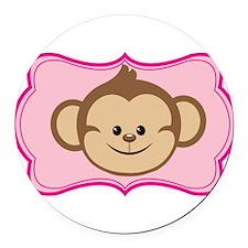 Cute Monkey on Pink Flourish Round Car Magnet