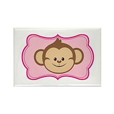 Cute Monkey on Pink Flourish Magnets