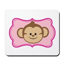 Cute Monkey on Pink Flourish Mousepad