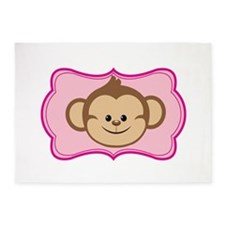 Cute Monkey on Pink Flourish 5'x7'Area Rug