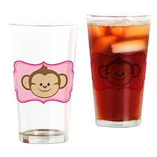 Cute Monkey on Pink Flourish Drinking Glass
