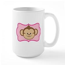 Cute Monkey on Pink Flourish Mugs