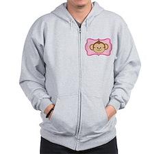Cute Monkey on Pink Flourish Zip Hoody