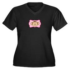 Cute Monkey on Pink Flourish Plus Size T-Shirt