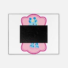 Blue Giraffe on Pink Flourish Picture Frame