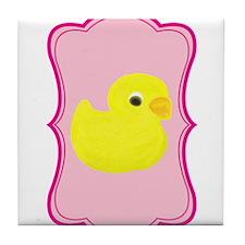 Yellow Duck on Pink Flourish Tile Coaster