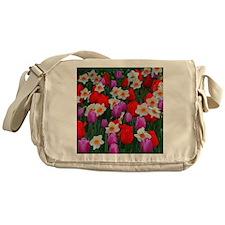 Purple tulips and white daffodils ga Messenger Bag