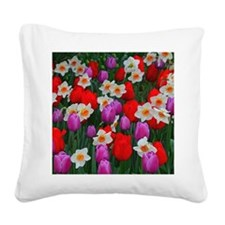 Purple tulips and white daffo Square Canvas Pillow