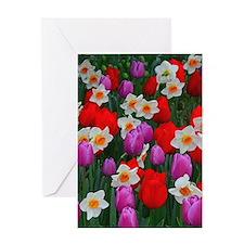 Purple tulips and white daffodils ga Greeting Card