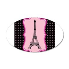 Eiffel Tower on Pink and Black Wall Decal
