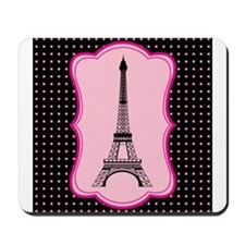 Eiffel Tower on Pink and Black Mousepad