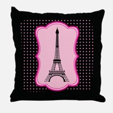 Eiffel Tower on Pink and Black Throw Pillow