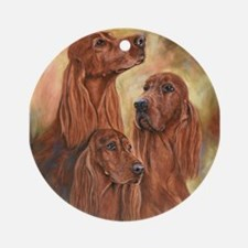 Three Irish Setters by Dawn Secord Ornament (Round