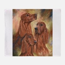 Three Irish Setters by Dawn Secord Throw Blanket