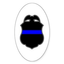 Blue Line Badge 3 Oval Decal