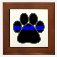 Blue Line K9 Paw Framed Tile
