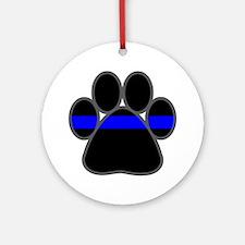 Blue Line K9 Paw Ornament (Round)