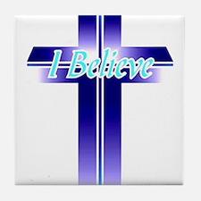 I Believe Cross Tile Coaster