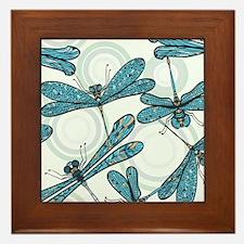 Blue Dragonflies Framed Tile