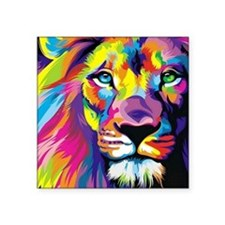 "Leo the trippy lion Square Sticker 3"" x 3"""