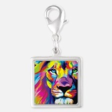 Leo the trippy lion Silver Square Charm