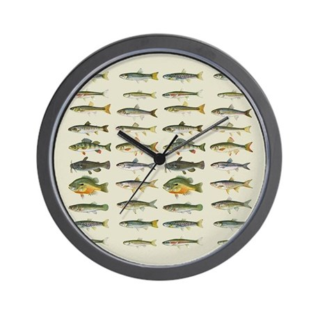 Freshwater fish chart wall clock by sportsnuts for Fish wall clock