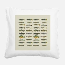 Freshwater Fish Chart Square Canvas Pillow