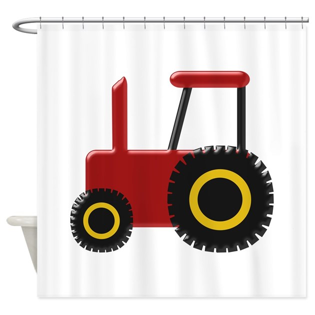 Tractor Shower Curtain : Tractor bathroom decor red shower curtain by