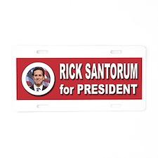 Rick Santorum for President Aluminum License Plate