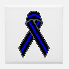 Blue Line Ribbon Tile Coaster