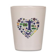 Brazil (Brasil) World Cup Heart Shot Glass