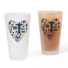 Brazil (Brasil) World Cup Heart Drinking Glass