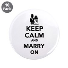"Keep calm and marry on 3.5"" Button (10 pack)"