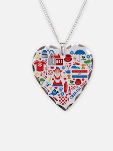 Croatia World Cup 2014 Heart Necklace