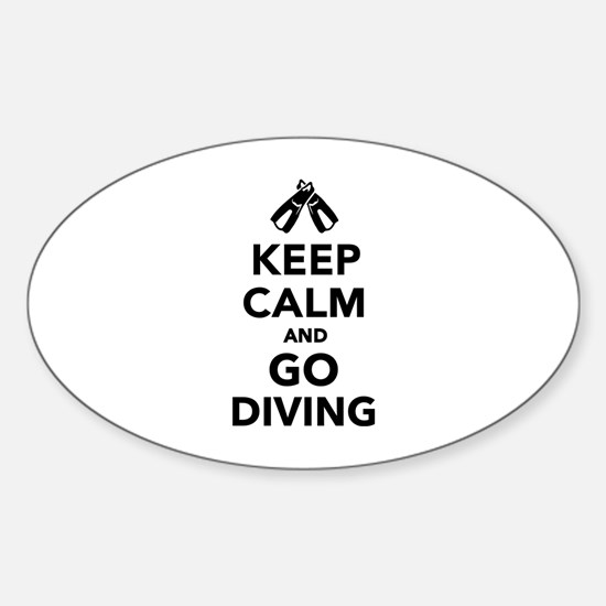 Keep calm and go Diving Sticker (Oval)