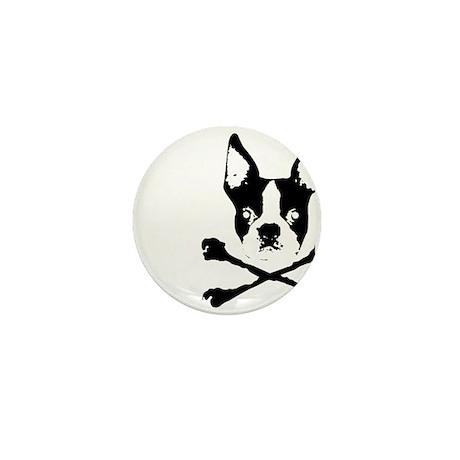 Boston Terrier Crossbones Mini Button