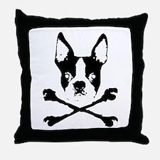 Boston Terrier Crossbones Throw Pillow