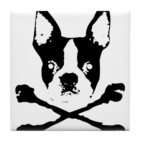 Boston Terrier Crossbones Tile Coaster