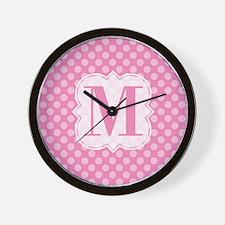 Monogram Pink Polka Dots Wall Clock