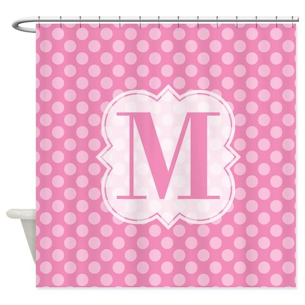 Monogram Pink Polka Dots Shower Curtain By DesignersCafe