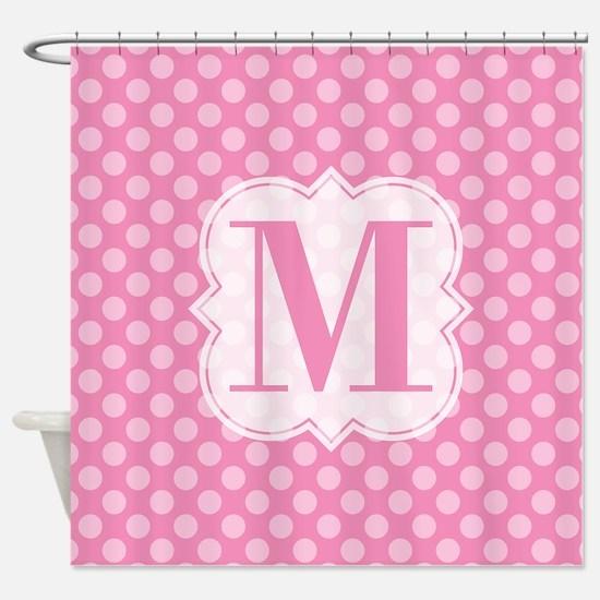 Monogram Pink Polka Dots Shower Curtain