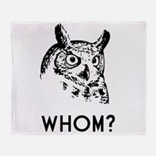 Hoo Who Whom Grammar Owl Throw Blanket