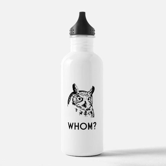 Hoo Who Whom Grammar Owl Water Bottle